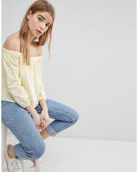 Top à épaules dénudées jaune Hollister