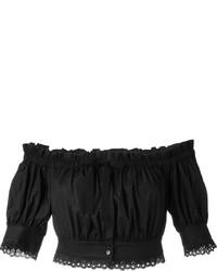 Top à épaules dénudées noir Alexander McQueen