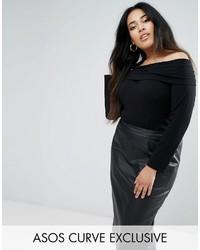 Top à épaules dénudées noir Asos