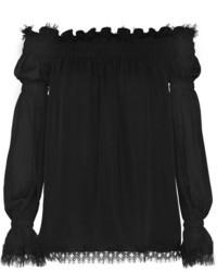 Top à épaules dénudées noir Oscar de la Renta