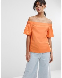 Top à épaules dénudées orange Asos