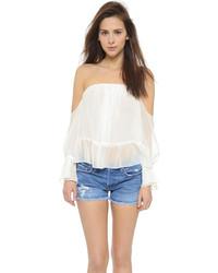 Top à épaules dénudées plissé blanc T-Bags LosAngeles