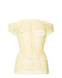 Top à épaules dénudées plissé jaune Dolce & Gabbana