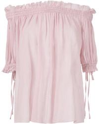 Top à épaules dénudées rose Alexander McQueen