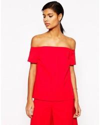 Top à épaules dénudées rouge Asos
