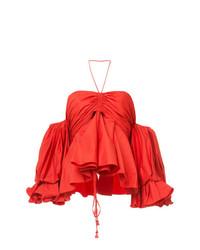 Top à épaules dénudées rouge Johanna Ortiz