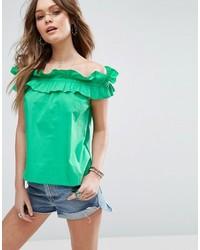 Top à épaules dénudées vert menthe Asos
