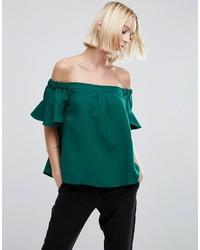 Top à épaules dénudées vert Asos