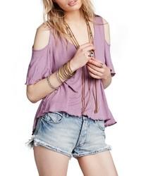 Top à épaules dénudées violet clair