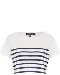 Top court à rayures horizontales blanc et bleu marine