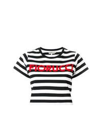 Top court à rayures horizontales noir Fiorucci