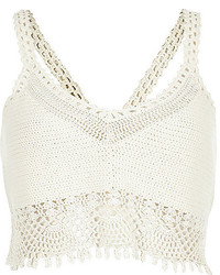 Top court en crochet blanc