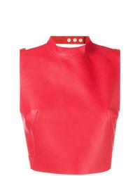 Top court en cuir rouge Manokhi