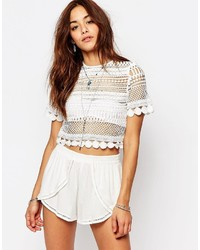 Top court en dentelle blanc Missguided