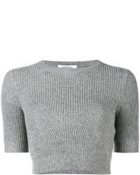 Top court en tricot gris Valentino