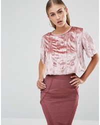 Top court en velours rose Missguided