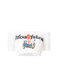 Top court imprimé blanc Moschino