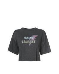 Top court imprimé gris foncé Saint Laurent