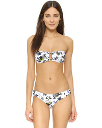 Top de bikini à fleurs blanc