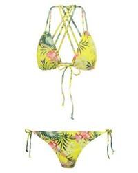 Top de bikini à fleurs chartreuse Missguided