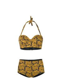 Top de bikini à fleurs jaune Maison Margiela