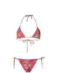 Top de bikini à fleurs multicolore Etro