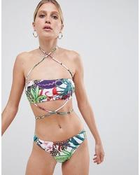 Top de bikini à fleurs multicolore Missguided