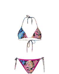 Top de bikini à fleurs noir Etro