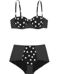 Top de bikini á pois noir Dolce & Gabbana
