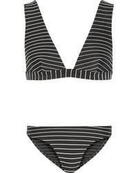 Top de bikini à rayures horizontales noir et blanc Zimmermann