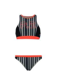 Top de bikini à rayures verticales noir P.E Nation