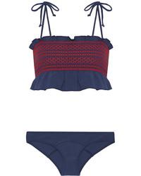 Top de bikini à volants bleu marine Lisa Marie Fernandez