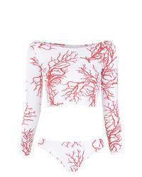 Top de bikini blanc et rouge