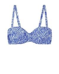 Top de bikini imprimé bleu Mango
