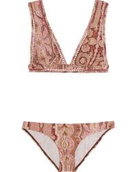 Top de bikini imprimé cachemire bordeaux Zimmermann
