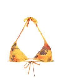 Top de bikini imprimé jaune Lygia & Nanny