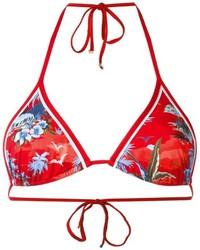 Top de bikini imprimé rouge