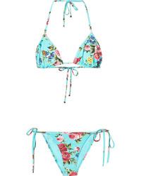 Top de bikini imprimé turquoise Dolce & Gabbana