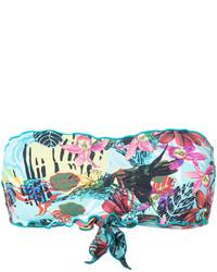 Top de bikini imprimé turquoise Ermanno Scervino