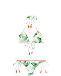 Top de bikini imprimé vert menthe