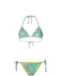 Top de bikini imprimé vert Etro