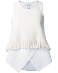 Top sans manches à franges blanc Derek Lam 10 Crosby