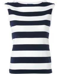 Top sans manches à rayures horizontales blanc et bleu marine Polo Ralph Lauren