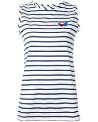 Top sans manches à rayures horizontales blanc et bleu marine