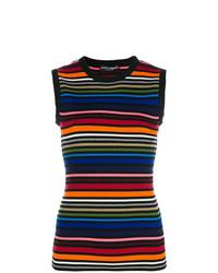 Top sans manches à rayures horizontales multicolore Dolce & Gabbana