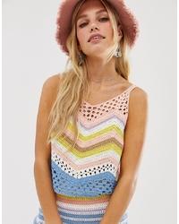 Top sans manches en crochet à motif zigzag multicolore En Creme