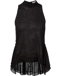 Top sans manches en dentelle noir Nina Ricci