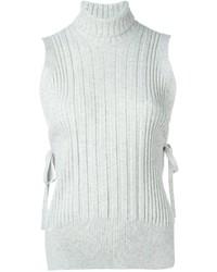 Top sans manches en laine blanc