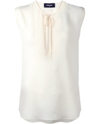 Top sans manches en soie blanc Dsquared2