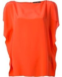 Top sans manches en soie orange Ralph Lauren